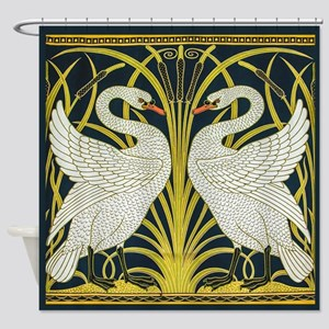 Swan Rush And Iris By Walter Crane Shower Curtain