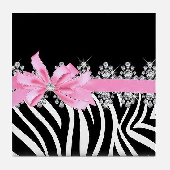 Zebra (pink) Tile Coaster