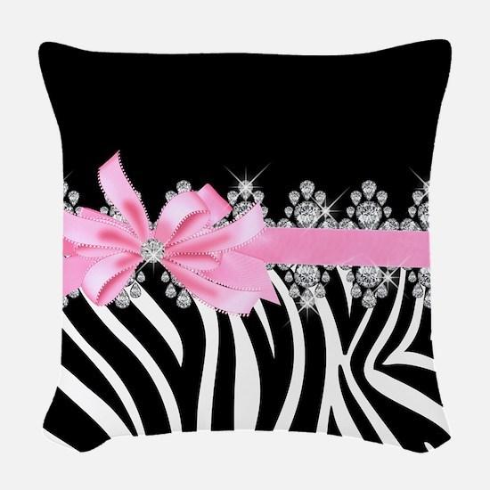 Zebra (pink) Woven Throw Pillow