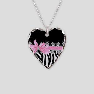 Zebra (pink) Necklace Heart Charm