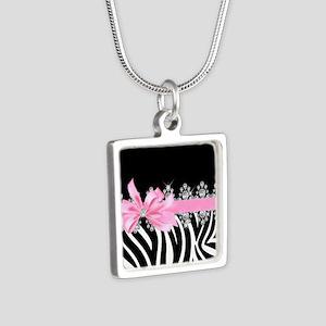 Zebra (pink) Silver Square Necklace