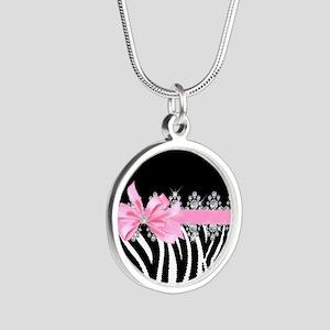 Zebra (pink) Silver Round Necklace
