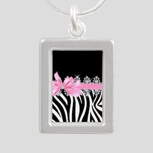 Zebra (pink) Silver Portrait Necklace
