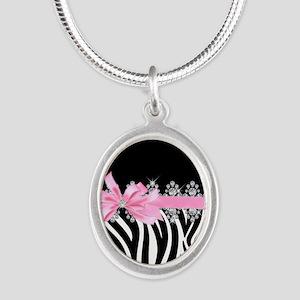 Zebra (pink) Silver Oval Necklace