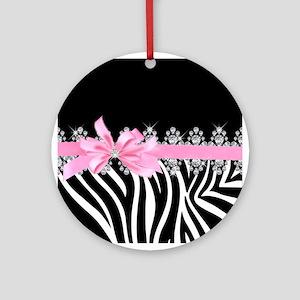 Zebra (pink) Round Ornament
