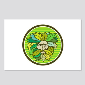 Green Man Foliate Head Circle Retro Postcards (Pac