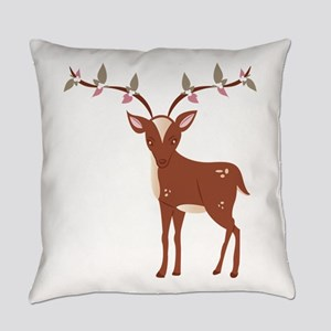Floral Deer Everyday Pillow