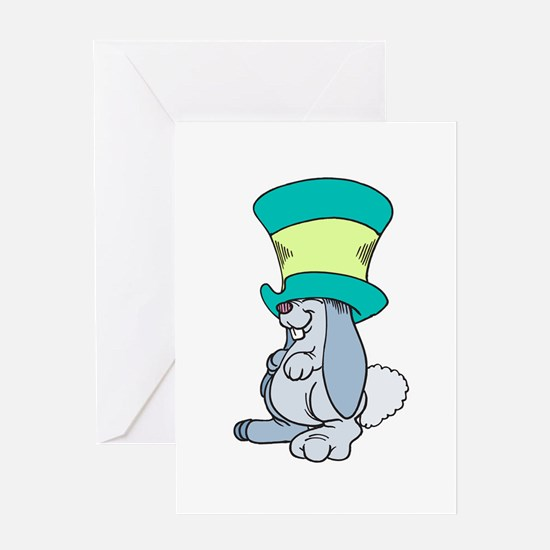 Silly Bunny in Top Hat Greeting Card