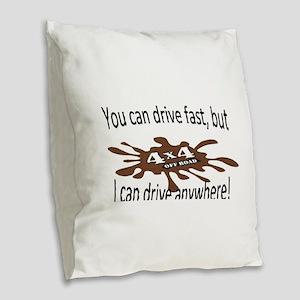 4x4 Drive anywhere! Burlap Throw Pillow