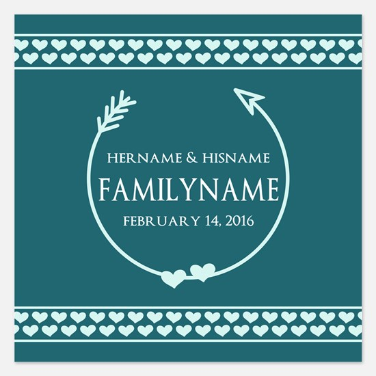Monogram Wedding Bride and 5.25 x 5.25 Flat Cards