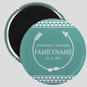 Mint Wedding Monogram Hearts Personalized Magnet