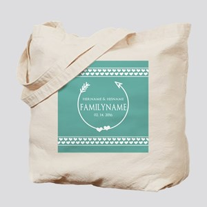 Mint Wedding Monogram Hearts Personalized Tote Bag