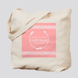Personalized Names Wedding Coral Hearts Tote Bag