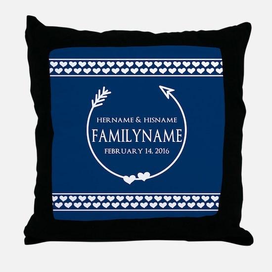 Personalized Names Monogram Wedding Throw Pillow