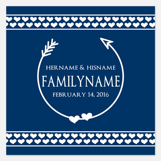Personalized Names Monogram 5.25 x 5.25 Flat Cards