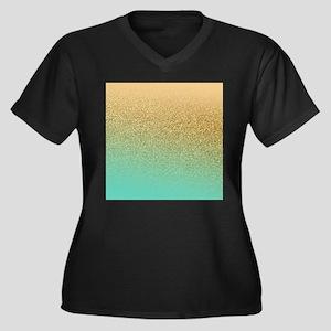 Gold Glitter Aqua Gradient Plus Size T-Shirt