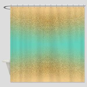Gold Glitter Aqua Gradient Seamless Shower Curtain