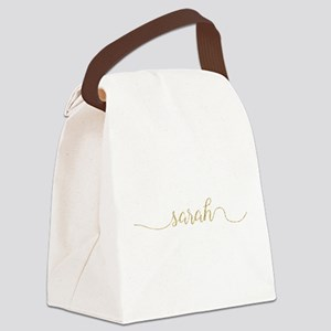 Gold Glitter Sarah Canvas Lunch Bag