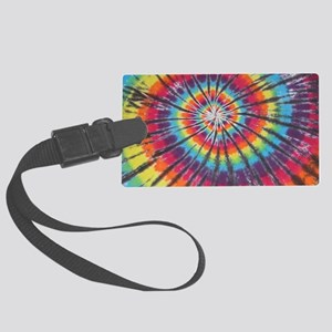 Deep Rainbow Swirl Tie-Dye Luggage Tag