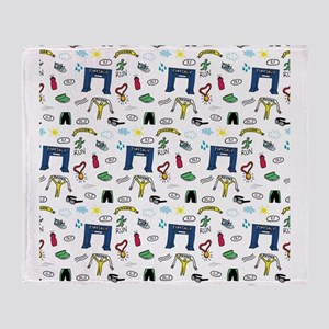Running Doodles Throw Blanket