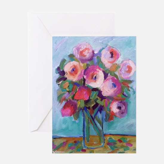 Impressionist Roses Greeting Cards
