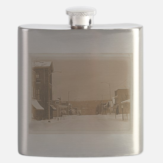 Old Main Street in the Snow Flask