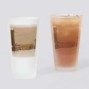 Old Main Street in the Snow Drinking Glass
