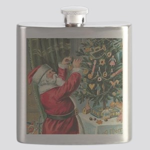 Vintage Santa Christmas Tree Flask