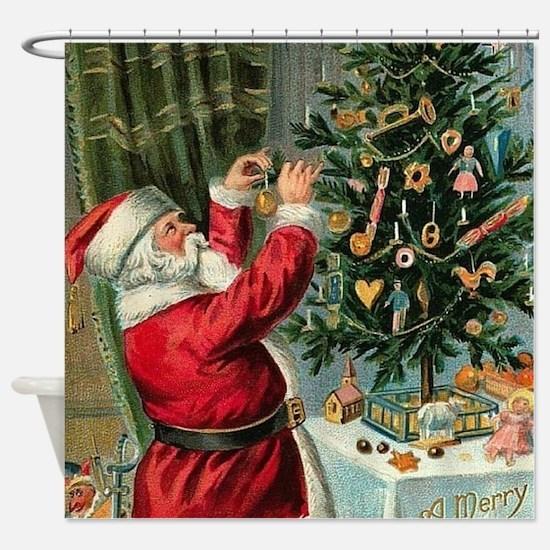 Vintage Santa Christmas Tree Shower Curtain