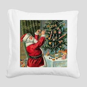 Vintage Santa Christmas Tree Square Canvas Pillow