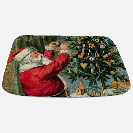 Vintage Santa Christmas Tree Bathmat