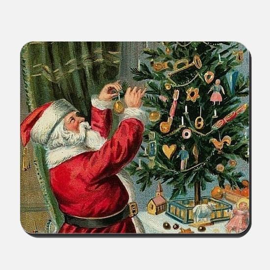 Vintage Santa Christmas Tree Mousepad