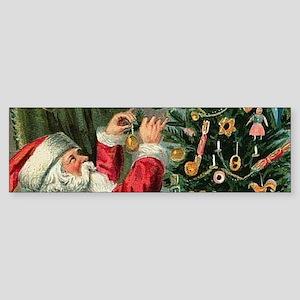 Vintage Santa Christmas Tree Bumper Sticker