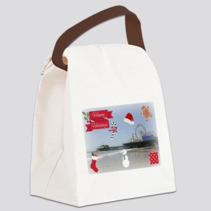 Happy Holidays Santa Monica Pier Canvas Lunch Bag