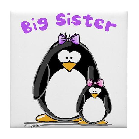 Big Sister penguin Tile Coaster