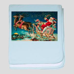 Vintage Santa Sleigh baby blanket