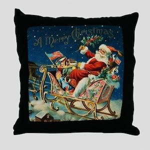 Vintage Santa Sleigh Throw Pillow