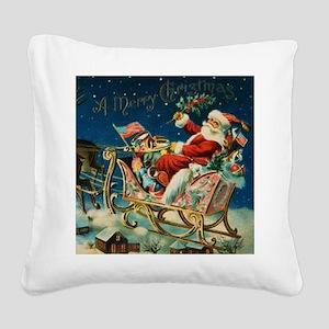 Vintage Santa Sleigh Square Canvas Pillow