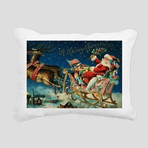 Vintage Santa Sleigh Rectangular Canvas Pillow