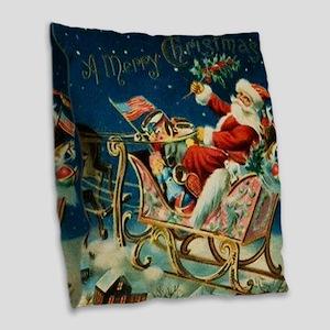 Vintage Santa Sleigh Burlap Throw Pillow