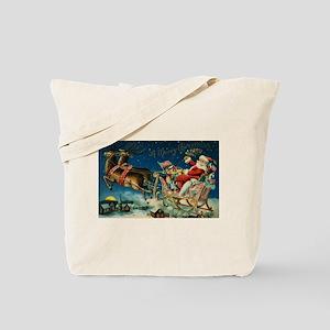 Vintage Santa Sleigh Tote Bag
