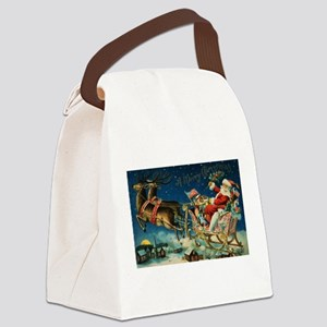 Vintage Santa Sleigh Canvas Lunch Bag