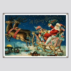 Vintage Santa Sleigh Banner