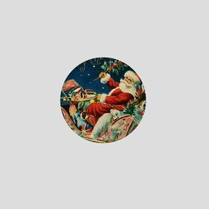 Vintage Santa Sleigh Mini Button