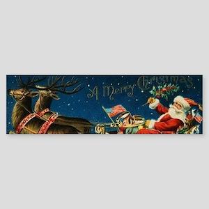 Vintage Santa Sleigh Bumper Sticker