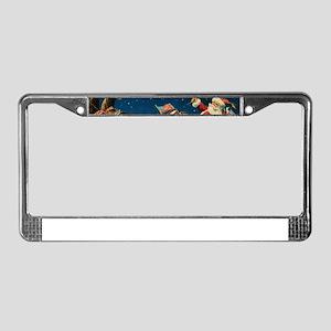 Vintage Santa Sleigh License Plate Frame