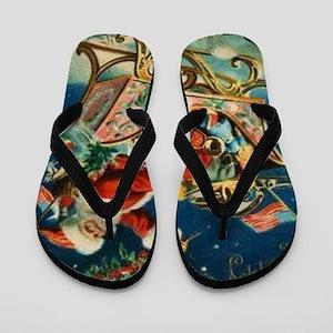 Vintage Santa Sleigh Flip Flops