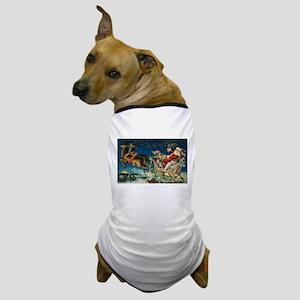 Vintage Santa Sleigh Dog T-Shirt