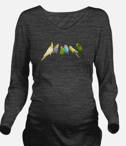 Parakeets & Cockatie Long Sleeve Maternity T-Shirt