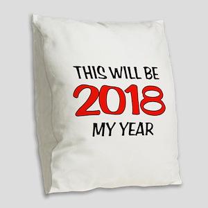 2018 Burlap Throw Pillow